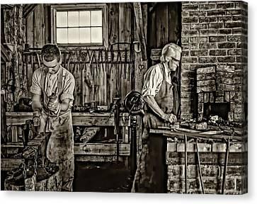 Apprentice And Master Sepia Canvas Print by Steve Harrington