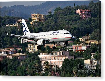 Airlines Canvas Print - Approaching Corfu Airport by George Atsametakis