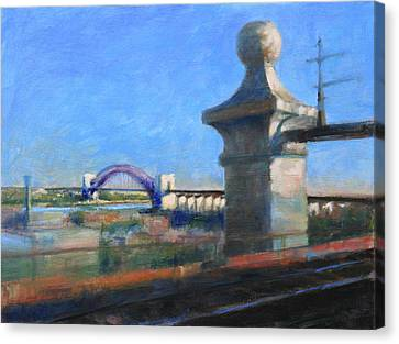Approaching Hell Gate Bridge By Rail Canvas Print