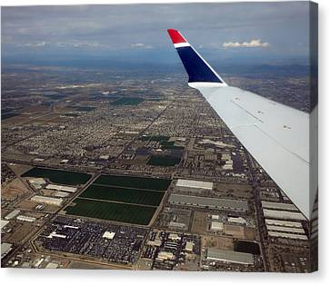 Airoplane Canvas Print - Approaching Phoenix Az Wing Tip View by Thomas Woolworth