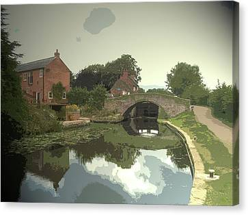 Approaching Sandiacre Lock On The, The Lockside Cottage Canvas Print