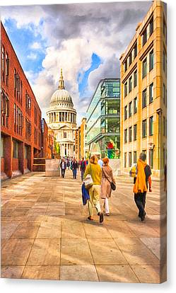 Approaching St. Paul's Cathedral Canvas Print by Mark E Tisdale