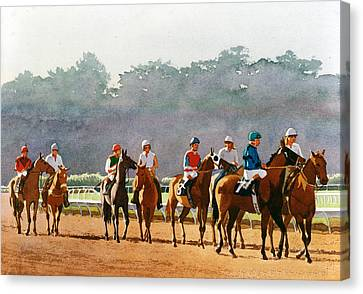 Stallion Canvas Print - Approaching The Starting Gate by Mary Helmreich