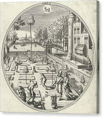 April, Adriaen Collaert, Hans Bol, Hans Van Luyck Canvas Print by Adriaen Collaert And Hans Bol And Hans Van Luyck