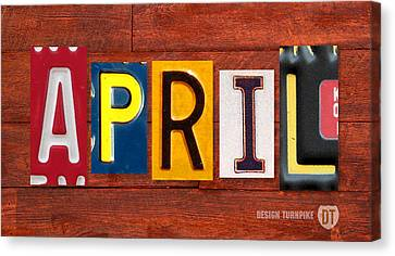 April License Plate Name Sign Fun Kid Room Decor Canvas Print by Design Turnpike