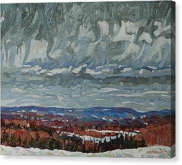 Snow Melt Canvas Print - April Storm Watch by Phil Chadwick