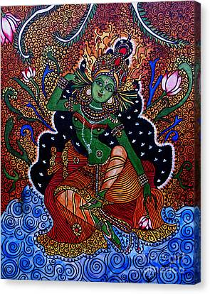 Canvas Print featuring the painting Apsara by Saranya Haridasan