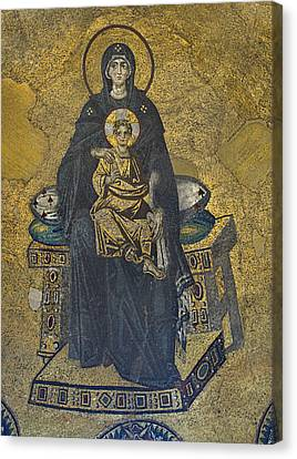 Apse Mosaic Hagia Sophia Virgin And Child Canvas Print by Ayhan Altun
