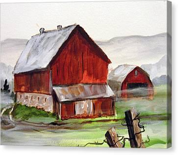 Canvas Print featuring the painting Apulia Farm Barn by Carol Hart