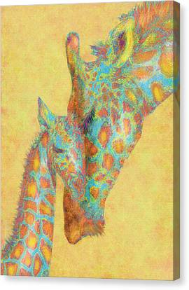 Aqua And Orange Giraffes Canvas Print by Jane Schnetlage