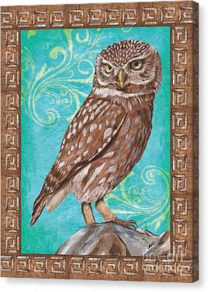Aqua Barn Owl Canvas Print
