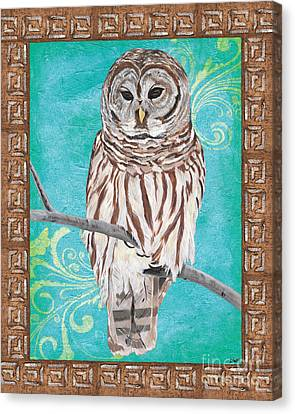 Aqua Barred Owl Canvas Print by Debbie DeWitt