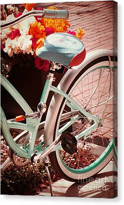 Canvas Print featuring the digital art Aqua Bicycle by Valerie Reeves