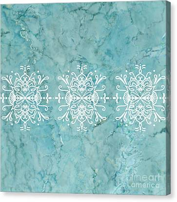 Aqua Blue Marble-royal White Canvas Print
