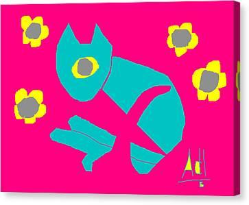 Aqua Cat Canvas Print by Anita Dale Livaditis