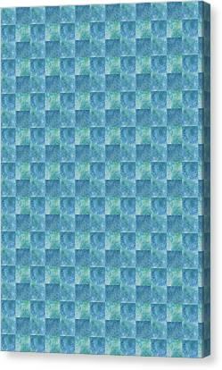 Aqua Checkers Canvas Print by Jenny Armitage
