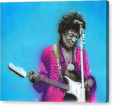 Jimi Hendrix - ' Aqua Haze ' Canvas Print