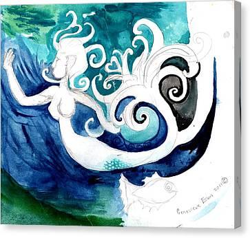 Aqua Mermaid Canvas Print by Genevieve Esson