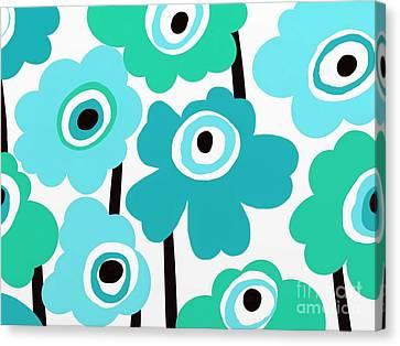 Fuschia Canvas Print - Aqua Mod Flowers by Marlene Kaltschmitt