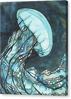 Canvas Print featuring the painting Aqua Sea Nettle by Tamara Phillips