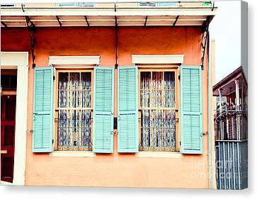 Canvas Print featuring the photograph Aqua Shutters by Sylvia Cook