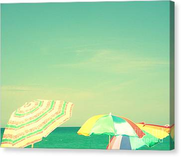 Canvas Print featuring the digital art Aqua Sky With Umbrellas by Valerie Reeves