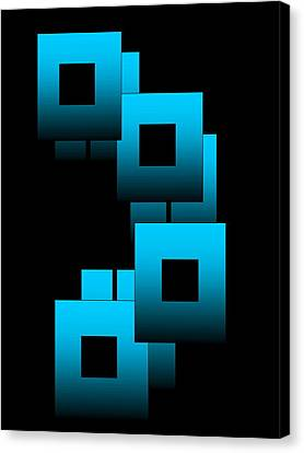 Canvas Print featuring the digital art Aqua Squares by Gayle Price Thomas