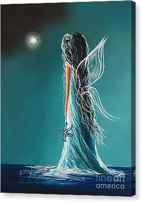 Gothic Poster Canvas Print - Aquamarine Fairy By Shawna Erback by Shawna Erback