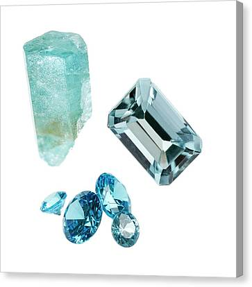 Aquamarine Gemstones And Crystal Canvas Print by Science Photo Library