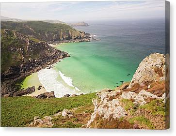 Aquamarine Seas In A Cove Near Bosigran Canvas Print by Ashley Cooper
