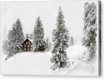 Aquarell - Beautiful Winter Landscape With Trees And House Canvas Print by Matthias Hauser