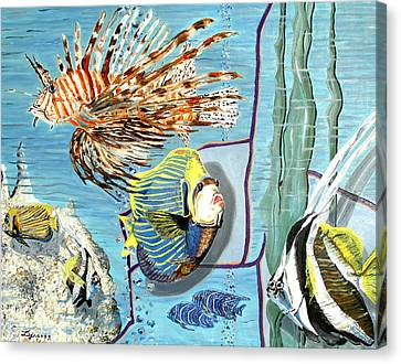 Canvas Print featuring the painting Aquarium by Daniel Janda