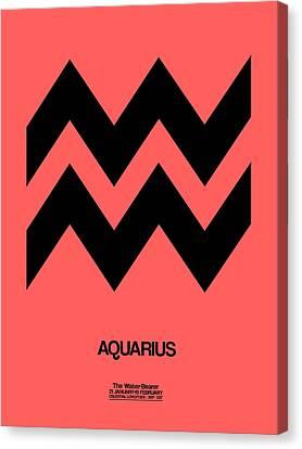 Aquarius Zodiac Sign Black Canvas Print