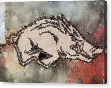 Ar Razorbacks Go Hogs Canvas Print by Dawn Bearden