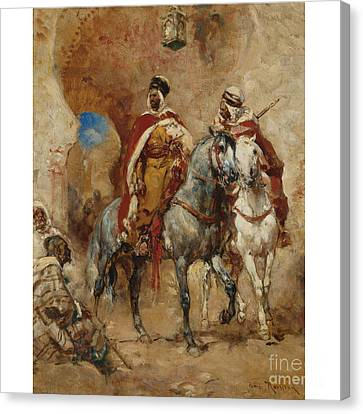 Arab Horsemen Before A City Gate Canvas Print by Celestial Images