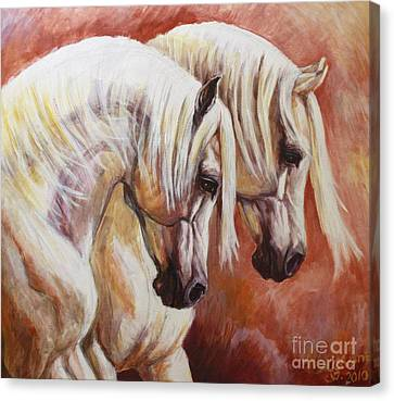 Horse In Art Canvas Print - Arab Horses by Silvana Gabudean Dobre