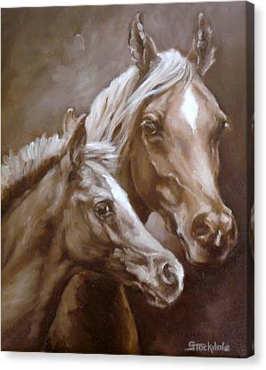 Canvas Print featuring the painting Arab Mare And Foal by Margaret Stockdale
