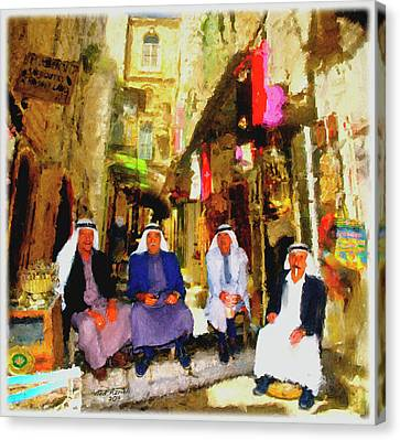 Canvas Print featuring the painting Arab Merchants Of Jerusleum by Ted Azriel