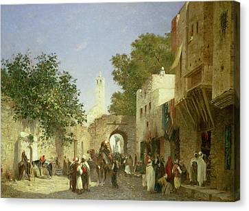 Arab Street Scene Canvas Print by Honore Boze