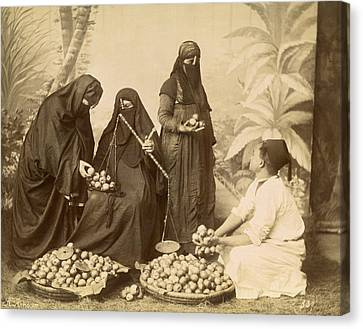 Arab Women Buying Fruit Canvas Print by Underwood Archives