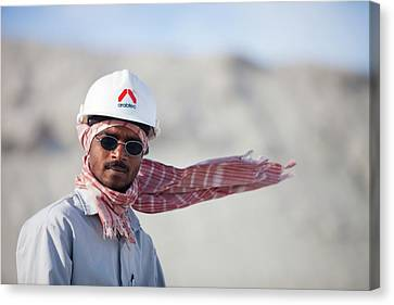 Arab Workers Working Canvas Print by Ashley Cooper