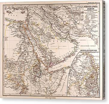 Arabia North East Africa Map Gotha Justus Perthes 1875 Atlas Canvas Print by English School