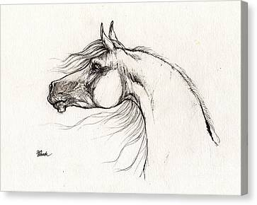 Arabian Horse Drawing 01 08 2013 Canvas Print by Angel  Tarantella