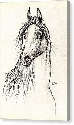 Arabian Horse Drawing 08 10 2013 Canvas Print by Angel  Tarantella