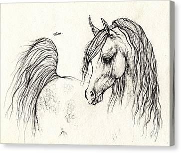 Arabian Horse Drawing 14 08 2013 Canvas Print by Angel  Tarantella