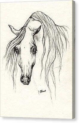 Arabian Horse Drawing 19 10 2013 Canvas Print by Angel  Tarantella