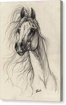 Wild Horses Canvas Print - Arabian Horse Drawing 37 by Angel  Tarantella