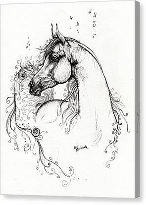 Arabian Horse Drawing 8 Canvas Print