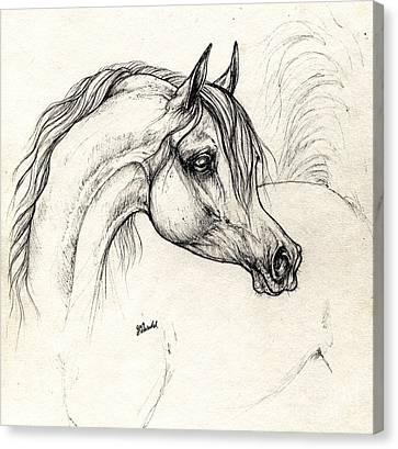 Arabian Horse Drawing A 18 10 2013 Canvas Print by Angel  Tarantella