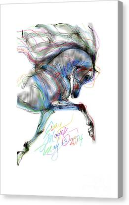 Arabian Horse Trotting In Air Canvas Print